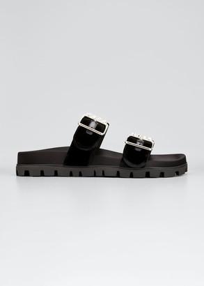 Miu Miu Velvet Double-Buckle Sport Sandals