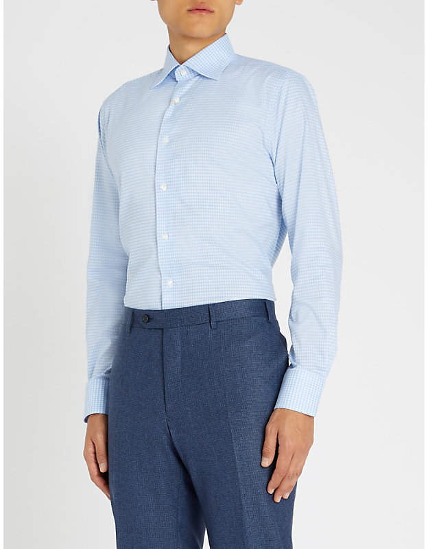 Canali Checked modern-fit cotton shirt