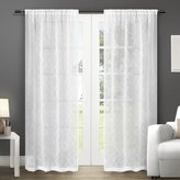 Exclusive Home Curtains Cali Embroidered Semi-Sheer Rod Pocket Window Curtain Panel Pair, Winter