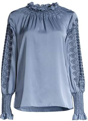 Kobi Halperin Talita Embroidered Stretch-Silk Blouse