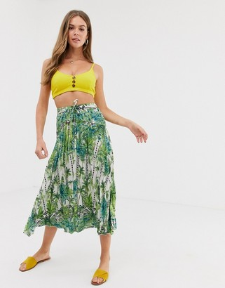 Asos Design DESIGN mirrored botanical print pleated midi skirt-Multi