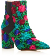 Jerome C. Rousseau Shaw Floral Embroidered Block Heel Booties