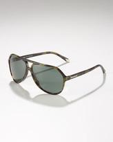 Dolce & Gabbana Large Plastic Aviator Sunglasses, Green Havana