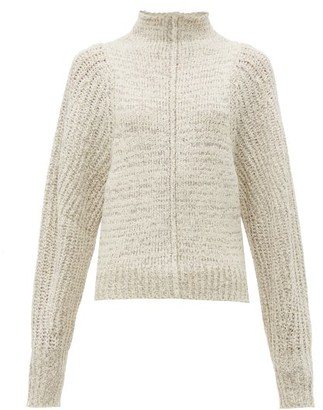 Isabel Marant Edilon High Neck Wool Blend Sweater - Womens - Light Grey