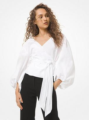 MICHAEL Michael Kors MK Cotton Poplin Wrap Top - White - Michael Kors
