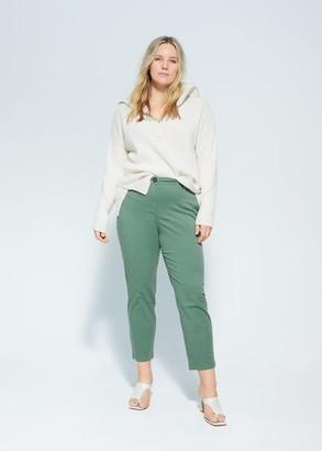 MANGO Violeta BY Slim-fit pants pastel yellow - 10 - Plus sizes