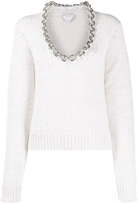 Bottega Veneta Chain-Detail Scoop-Neck Jumper