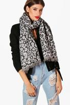 boohoo Amy Leopard Print Woven Scarf