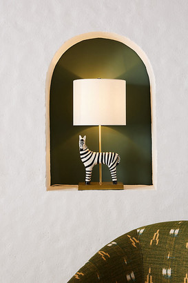 Anthropologie Ceramic Zebra Table Lamp By in Black Size L