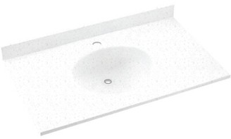 "Swan Ellipse Solid Surface 25"" Single Bathroom Vanity Top Top Finish: Arctic Granite"