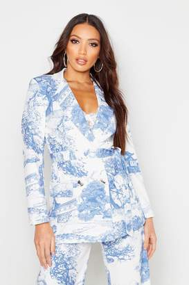 boohoo All Over Printed Belted Blazer
