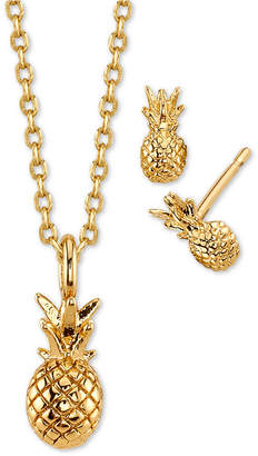 Unwritten 2-Pc. Set Pineapple Pendant Necklace & Stud Earrings in Gold-Tone