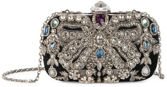 Alexander McQueen Beetle Embellished Leather Box Clutch