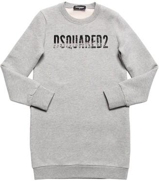 DSQUARED2 Sequined Logo Cotton Sweatshirt Dress