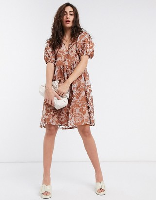Object organza smock dress with puff sleeves in brown floral
