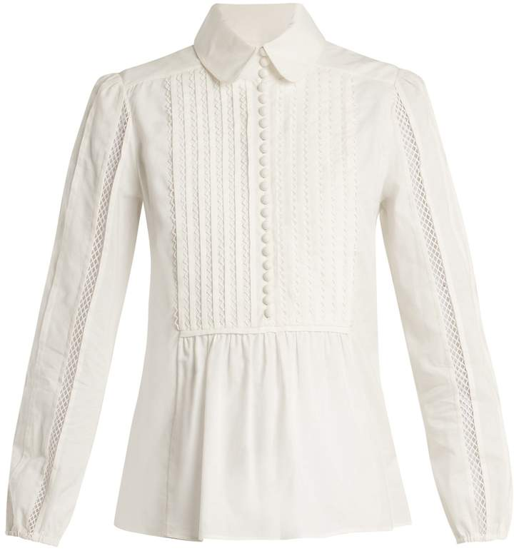 Chloé Lace-insert pleated-bib cotton shirt