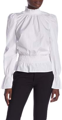 Frame Smocked Poplin Long Sleeve Blouse