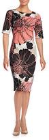 Gabby Skye Plus Elbow Sleeve Floral Print Scuba Dress
