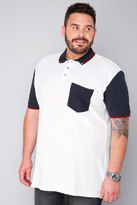Yours Clothing BadRhino White Short Sleeve Polo Shirt With Navy Button Down Collar