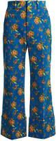 Gucci Floral-print wide-leg corduroy cropped trousers