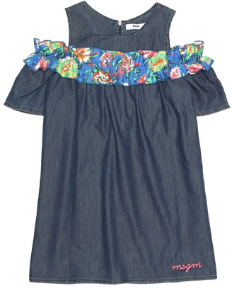 MSGM Kids Ruffled chambray dress