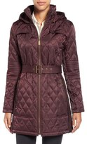 Vince Camuto Belted Mixed Quilted Coat with Detachable Hood