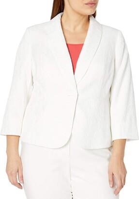 Kasper Women's 3/4 Sleeve Texture Jacquard 1 Button Shawl Collar Peplum Jacket
