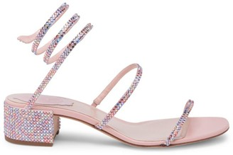 Rene Caovilla Cleo Ankle-Wrap Crystal-Embellished Satin Sandals