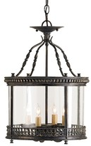 The Well Appointed House Wrought Iron and Glass Ceiling Lantern in French Black