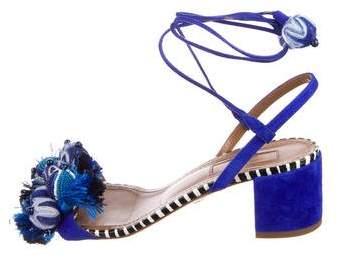Aquazzura Tropicana Snakeskin-Trimmed Sandals