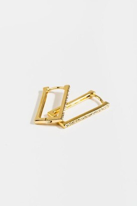 francesca's Quinn Pave Rectangle Hoops - Gold