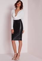 Missguided Faux Leather Seam Detail Midi Skirt Black