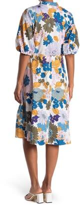 Sandra Darren Floral Short Sleeve Tie Waist Fit & Flare Dress