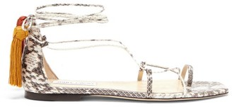 Jimmy Choo Dusti Mismatched-tassel Elaphe Sandals - Beige