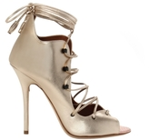 Malone Souliers Savannah Lace-Up Ankle Sandal in Gold