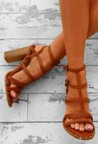 Pink Boutique Daytime Diva Tan Studded T-Bar Block Heels