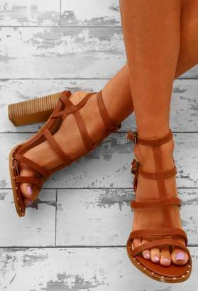 Pink Boutique Daytime Diva Tan Studded T-Bar Block Heels