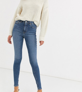 Topshop Tall Jamie skinny jeans in mid wash blue