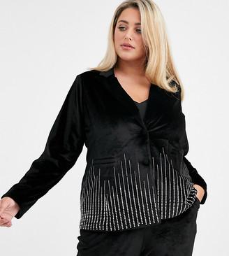 Fashion Union Plus velvet tuxedo coord with rhinestone scattered trim-Black