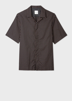 Paul Smith Men's Tailored-Fit Black And Peach Polka Dot Short-Sleeve Shirt