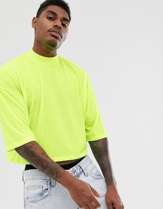 Asos Design DESIGN oversized crop t-shirt with mid sleeve and high neck in neon yellow