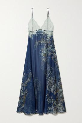 Carine Gilson Lace-trimmed Floral-print Silk-chiffon Nightdress - Blue