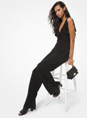 MICHAEL Michael Kors Matte Jersey Twist-Front Ruffled Jumpsuit