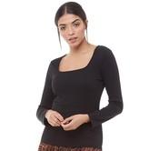 Brave Soul Womens Kia Square Neck Ribbed Long Sleeve Top Black