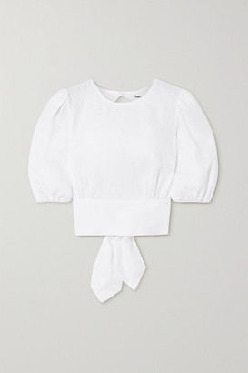Reformation Seychelles Tie-detailed Open-back Linen Top - White