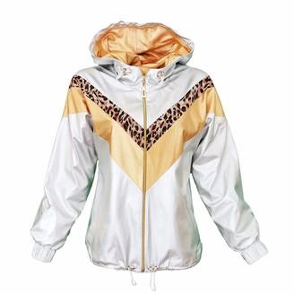 Lalipop Design Metallic Silver Gold & Leopard Zigzag Hooded Bomber Jacket