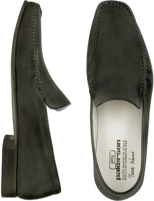 Pakerson Black Italian Handmade Leather Loafer Shoes