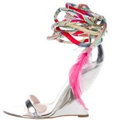 Emilio Pucci Feather-Embellished Wedge Sandals