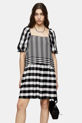 Topshop TALL Black and White Mini Textured Check Dress