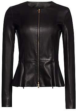 The Row Women's Essentials Anasta Leather Peplum Jacket - Size 0